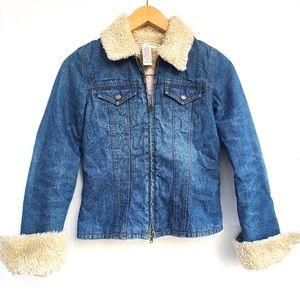 ABERCROMBIE & FITCH fur collared denim jacket